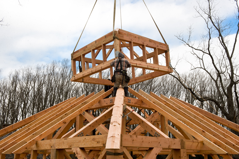 Timber frame garage studio in berwyn pa hugh lofting for How to build cupola
