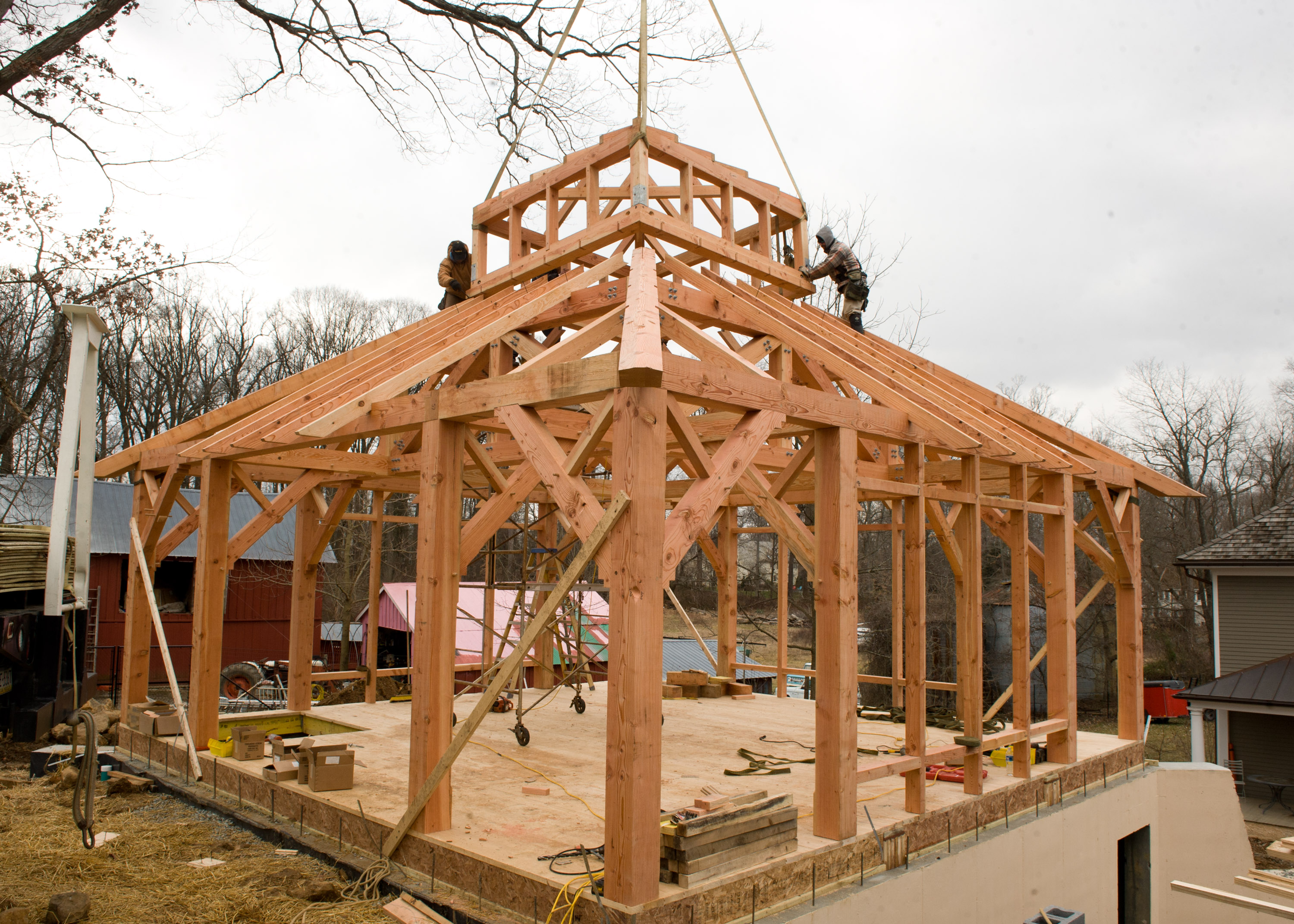Timber frame garage studio in berwyn pa hugh lofting for Cupola for garage