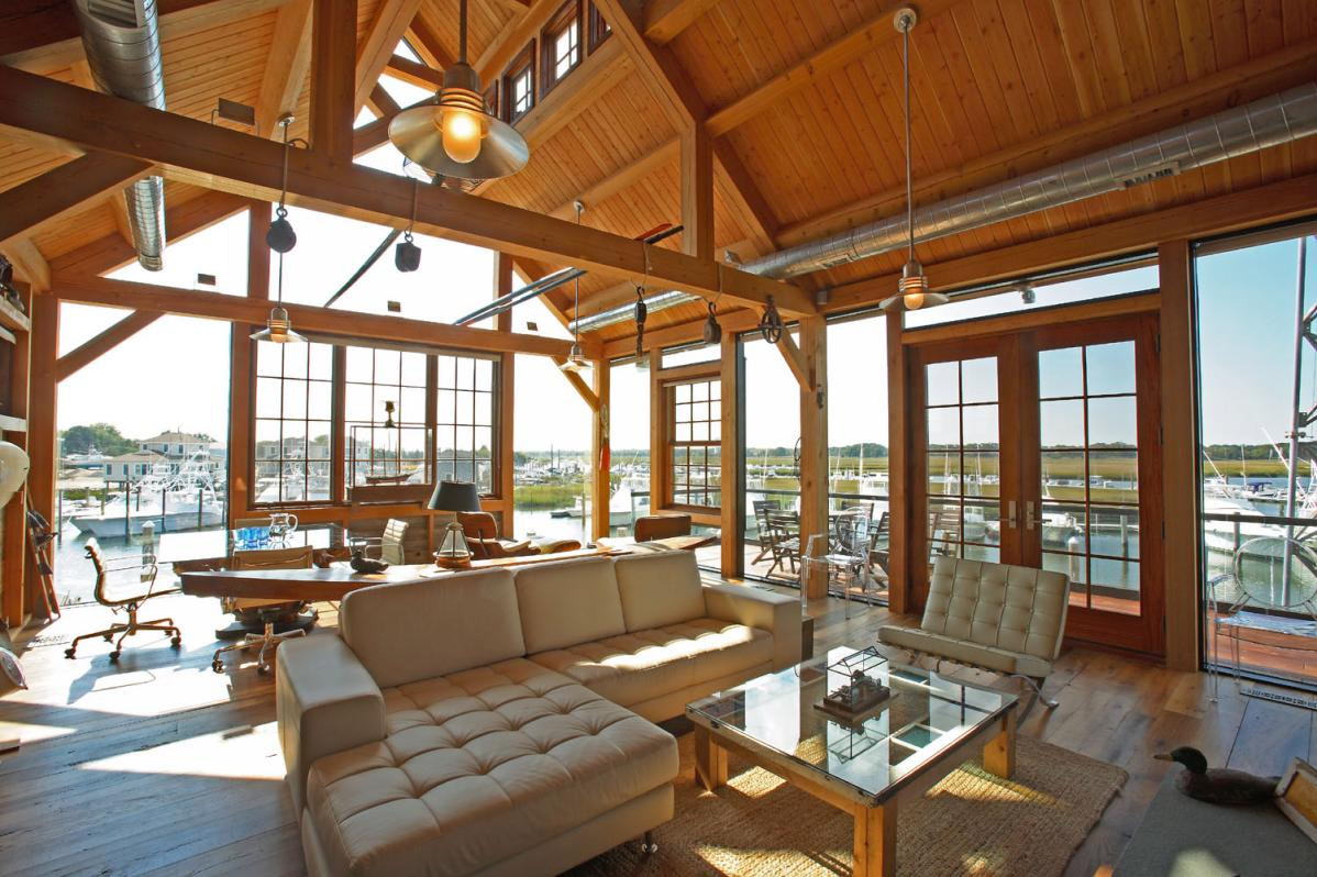 Interieur Maison Ossature Bois Of Hltf 39 S Cape May Nj Timber Frame Boat House Hugh Lofting