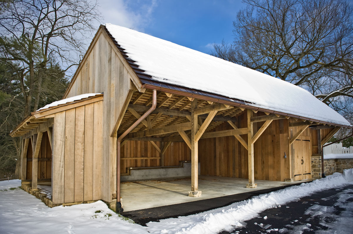 Hugh lofting timber framing carriage shed for A frame house plans with garage