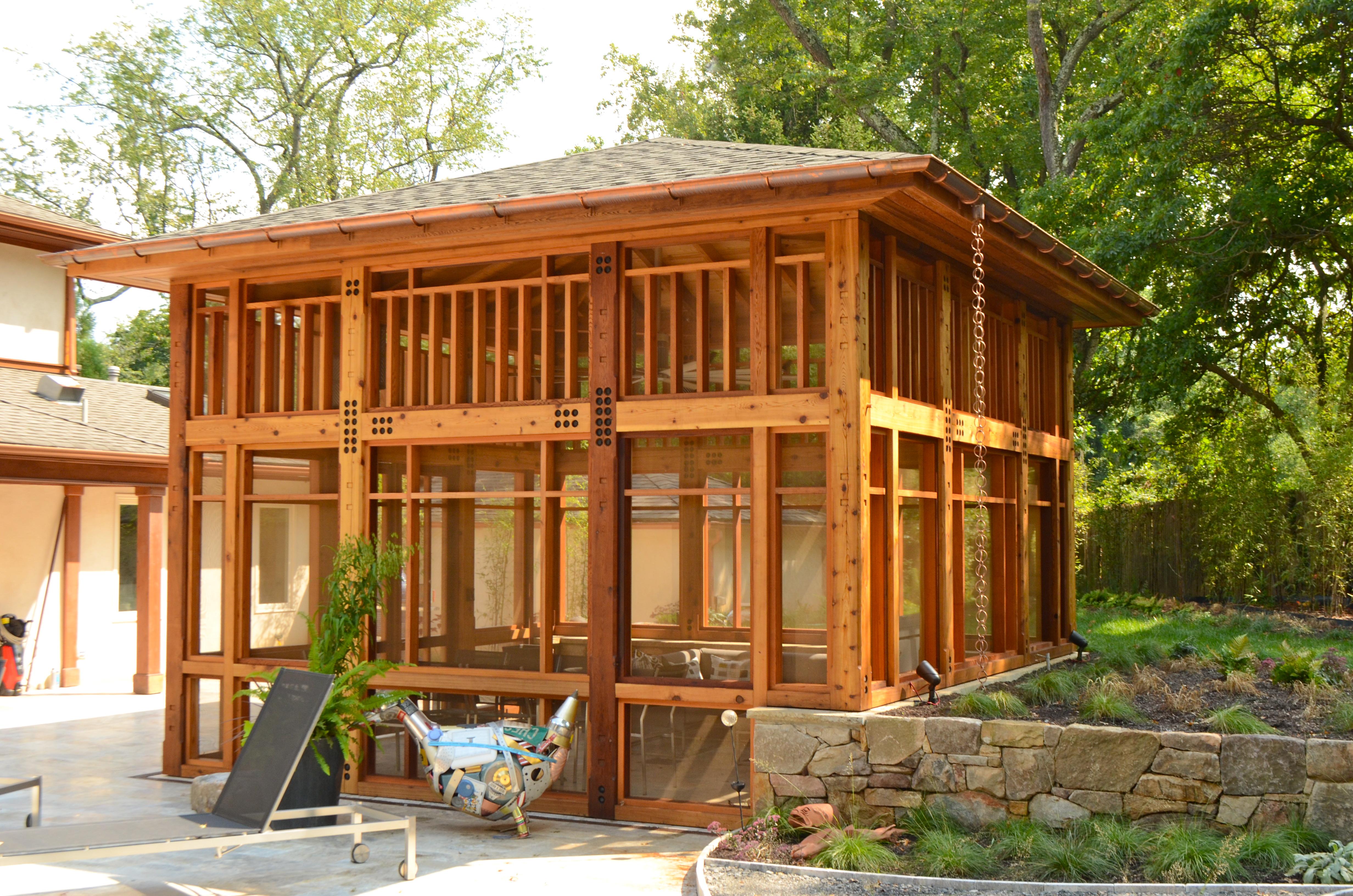 Timber Framed Screened In Porch - Hugh Lofting Timber Framing Inc
